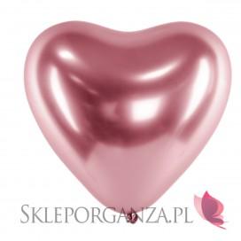 Balony chromowane na wesele Balony CHROMOWANE glossy róż złoto Serca 30cm, 6 sztuk