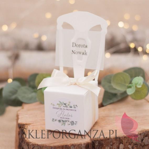 Personalizowane 2w1 upominki Pudełko krzesełko białe 2w1– personalizacja kolekcja ślubna EUKALIPTUS