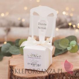 Pudełko krzesełko białe 2w1– personalizacja kolekcja ślubna EUKALIPTUS