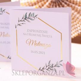 Zaproszenia komunijne personalizowane Zaproszenie Komunia – personalizacja kolekcja GEOMETRYCZNA GOLD