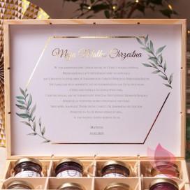 Podziękowania dla Rodziców Chrzestnych na Komunię Zestaw miodów ekskluzywny – personalizacja kolekcja GEOMETRYCZNA GOLD