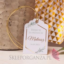 Bileciki komunijne do upominków dla gości personalizowane Bilecik – personalizacja kolekcja GEOMETRYCZNA GOLD