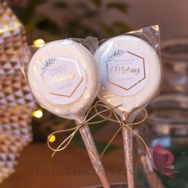 Upominki dla gości na Komunię personalizowane Lizak biały – personalizacja kolekcja GEOMETRYCZNA GOLD