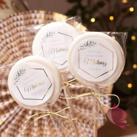 Upominki dla gości na Chrzest personalizowane Lizak biały duży - personalizacja kolekcja GEOMETRYCZNA GOLD