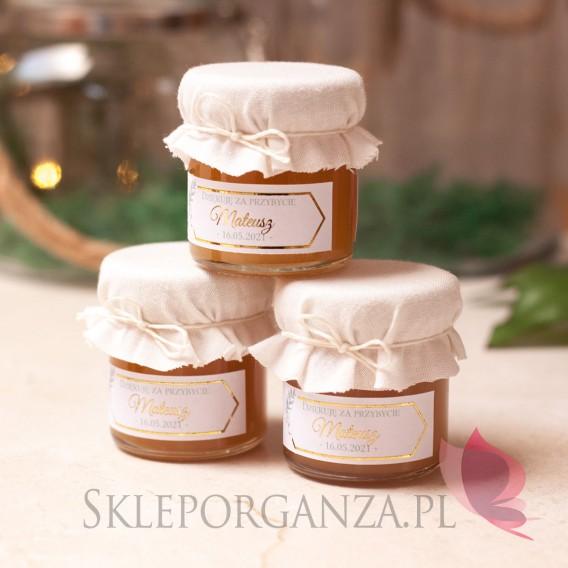 Miodziki na Chrzest personalizowane Podziękowanie dla gości – miód biały – personalizacja kolekcja GEOMETRYCZNA GOLD