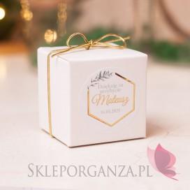 Upominki dla gości na Komunię personalizowane Pudełko kostka biała – personalizacja kolekcja GEOMETRYCZNA GOLD
