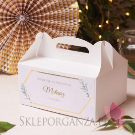Upominki dla gości na Chrzest personalizowane Pudełko na ciasto białe – personalizacja kolekcja GEOMETRYCZNA GOLD