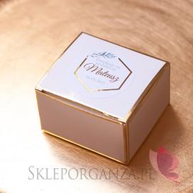 Upominki dla gości na Chrzest personalizowane Pudełeczko białe ze złotymi brzegami - personalizacja kolekcja GEOMETRYCZNA GOLD