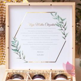 Podziękowania dla Rodziców Chrzestnych na Komunię Zestaw miodów duży – personalizacja kolekcja GEOMETRYCZNA GOLD