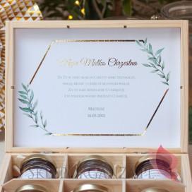 Podziękowania dla Rodziców Chrzestnych na Komunię Zestaw miodów średni – personalizacja kolekcja GEOMETRYCZNA GOLD