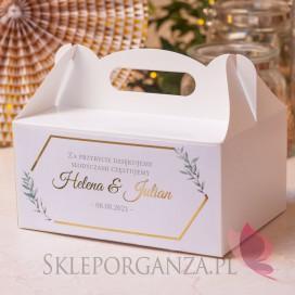 Pudełko na ciasto białe – personalizacja kolekcja ślubna GEOMETRYCZNA GOLD