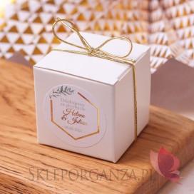 Pudełko kostka biała – personalizacja kolekcja ślubna GEOMETRYCZNA GOLD