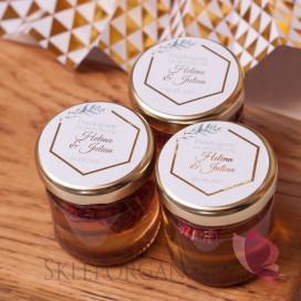 Podziękowanie dla gości - miód z maliną 1 - personalizacja kolekcja ślubna GEOMETRYCZNA GOLD