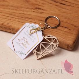 Inne upominki weselne personalizowane Breloczek serce - personalizacja kolekcja ślubna GEOMETRYCZNA GOLD