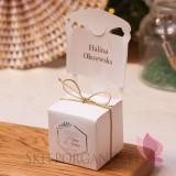2w1 Upominki/Winietki weselne personalizowane Pudełko krzesełko - personalizacja kolekcja ślubna GEOMETRYCZNA GOLD