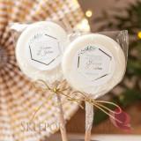 Lizaki weselne personalizowane Lizak biały – personalizacja kolekcja ślubna GEOMETRYCZNA GOLD
