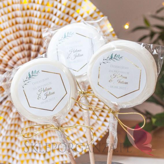 Lizaki weselne personalizowane Lizak biały duży - personalizacja kolekcja ślubna GEOMETRYCZNA GOLD