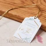 Personalizowane bileciki do upominków weselnych Bilecik – personalizacja kolekcja ślubna GEOMETRYCZNA GOLD