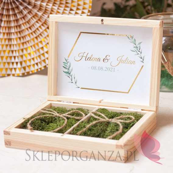 Pudełka na obrączki ślubne Drewniane pudełko na obrączki mech - personalizacja kolekcja ślubna GEOMETRYCZNA GOLD