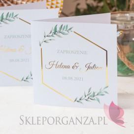 Zaproszenie - personalizacja kolekcja ślubna GEOMETRYCZNA GOLD