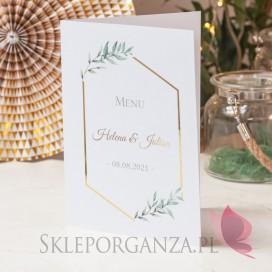 Menu - personalizacja kolekcja ślubna GEOMETRYCZNA GOLD