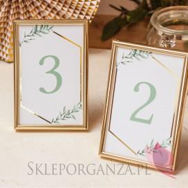 Numery stolików - personalizacja kolekcja ślubna GEOMETRYCZNA GOLD