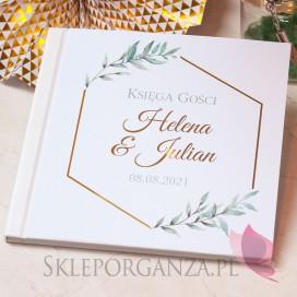 GEOMETRYCZNA GOLD na ślub Księga gości skóra biała - personalizacja kolekcja ślubna EUKALIPTUS