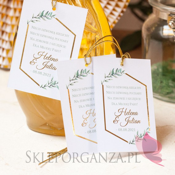 Zawieszki na alkohol Zawieszka na alkohol - personalizacja kolekcja ślubna GEOMETRYCZNA GOLD