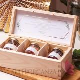 Szkatułki z miodami Zestaw miodów mały – personalizacja kolekcja ślubna EUKALIPTUS