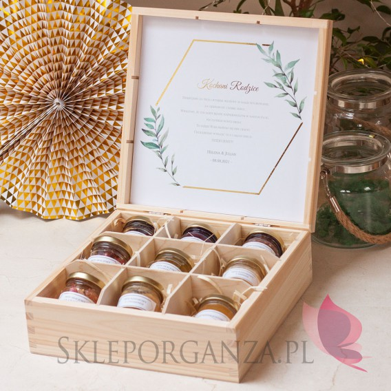 Szkatułki z miodami Zestaw miodów duży – personalizacja kolekcja ślubna GEOMETRYCZNA GOLD