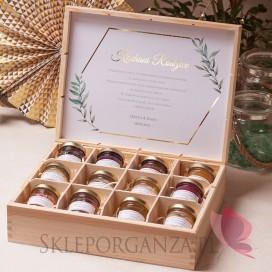 Zestaw miodów ekskluzywny – personalizacja kolekcja ślubna GEOMETRYCZNA GOLD
