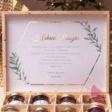 Szkatułki z miodami Zestaw miodów ekskluzywny – personalizacja kolekcja ślubna GEOMETRYCZNA GOLD