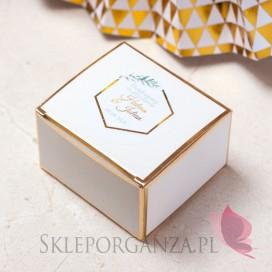 Pudełeczko białe ze złotymi brzegami - personalizacja kolekcja ślubna GEOMETRYCZNA GOLD