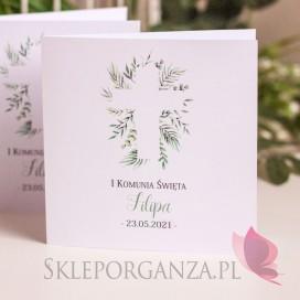 Zaproszenie Komunia 3 – personalizacja kolekcja ZIELONA GAŁĄZKA