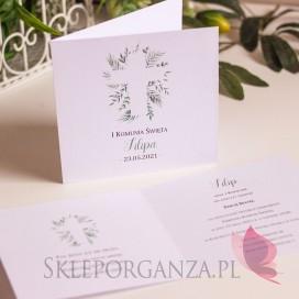 Zaproszenia komunijne personalizowane Zaproszenie Komunia 3 – personalizacja kolekcja ZIELONA GAŁĄZKA
