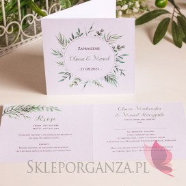 Zaproszenia ślubne Zaproszenie 1 - personalizacja kolekcja ślubna ZIELONA GAŁĄZKA