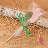 Kręcone lizaki na wesele Lizak tulipan jasny róż