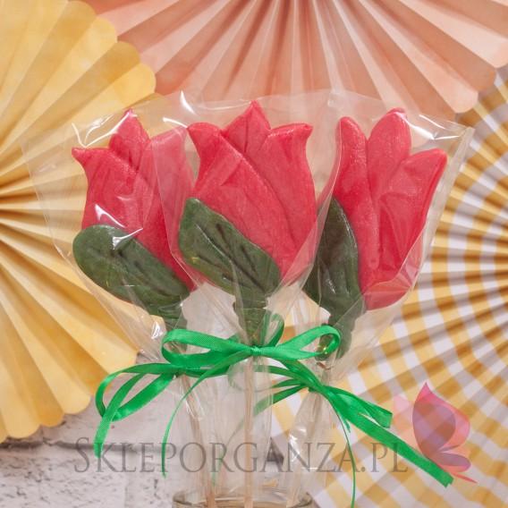 Kręcone lizaki na wesele Lizak tulipan czerwony