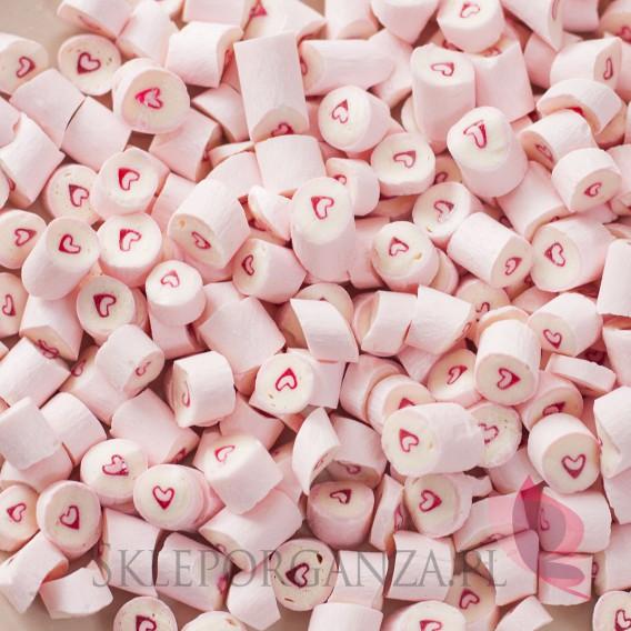 Różowy Cukierki karmelki jasnoróżowe z sercem