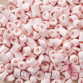 Cukierki karmelki jasnoróżowe z sercem