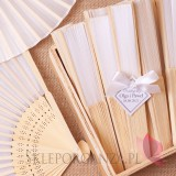 Wachlarze weselne personalizowane Wachlarz materiałowy biały - personalizacja