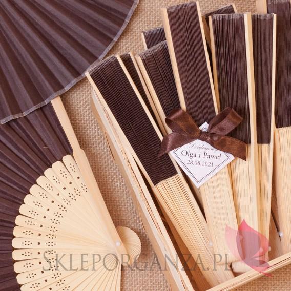Wachlarze weselne personalizowane Wachlarz papierowy brązowy - personalizacja