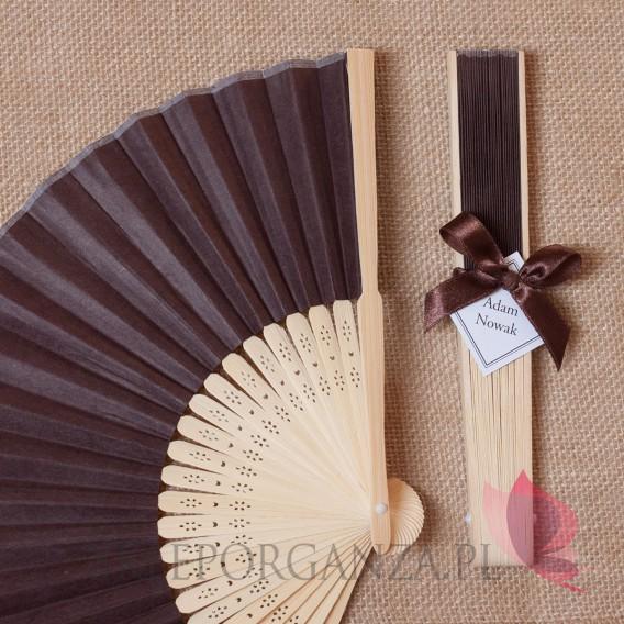 2w1 Upominki/Winietki weselne personalizowane Wachlarz papierowy brązowy - personalizacja WINIETKA