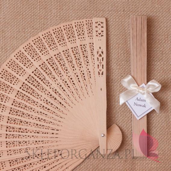 2w1 Upominki/Winietki weselne personalizowane Wachlarz drewniany - personalizacja WINIETKA