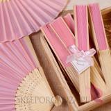 2w1 Upominki/Winietki weselne personalizowane Wachlarz materiałowy jasnoróżowy - personalizacja WINIETKA