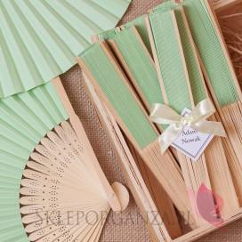 2w1 Upominki/Winietki weselne personalizowane Wachlarz papierowy jasnozielony - personalizacja WINIETKA
