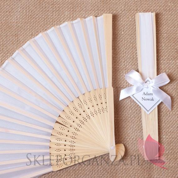 2w1 Upominki/Winietki weselne personalizowane Wachlarz materiałowy biały - personalizacja WINIETKA