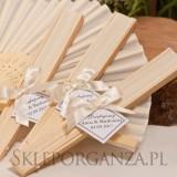 Wachlarze weselne personalizowane Wachlarz materiałowy kremowy - personalizacja