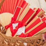 Wachlarze weselne personalizowane Wachlarz materiałowy czerwony - personalizacja