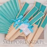Wachlarze weselne personalizowane Wachlarz materiałowy turkusowy - personalizacja